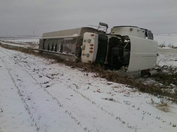 A fuel truck went off a county road southeast of Elgin, injuring one person. Courtesy photo