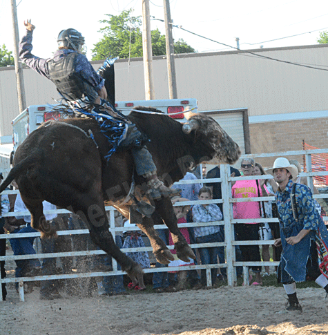 Wickett's bull went airborne during the ride that gave him the win.