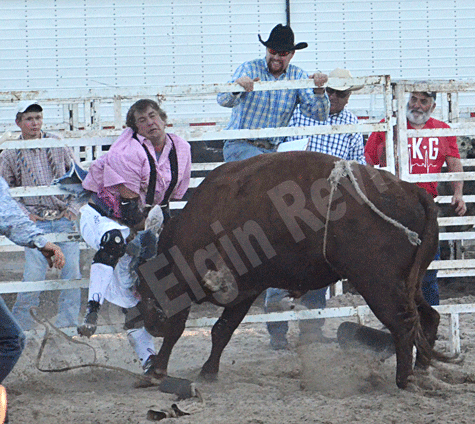 Bullfighter JR Clouse took several hits from this worked up bull.