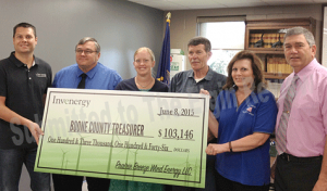 Invenergy LLC representatives, including Luke Henkle, also presented Boone County officials will a check on Monday. Photo submitted