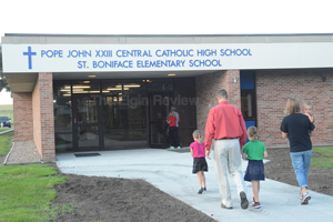 The Michael Moser family on the first day at PJCC/St. Boniface schools.