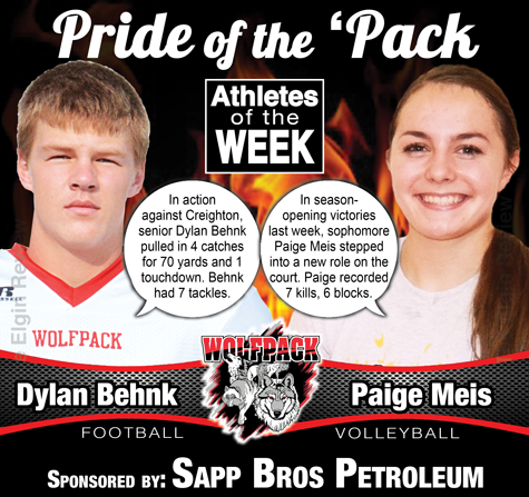 Dylan Behnk and Paige Meis, this week's Pride of the 'Pack. Elgin Review