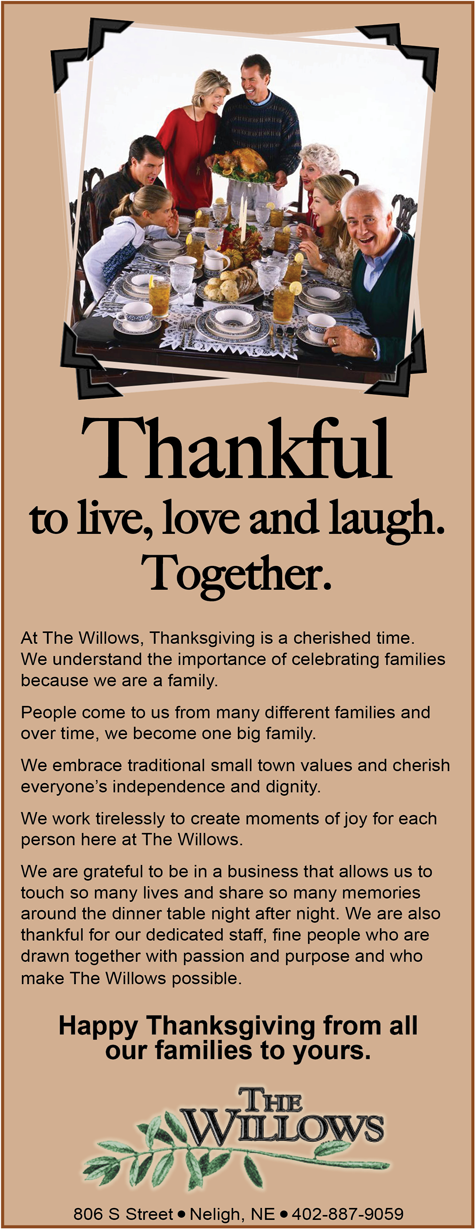 The Willows wishes you a Happy Thanksgiving.