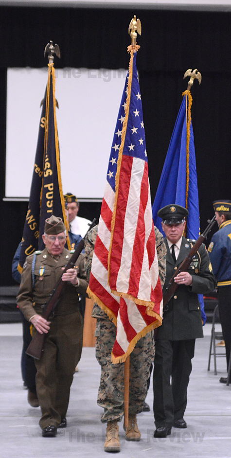 Retirement of the colors at today's Veterans Day program. The Elgin Review