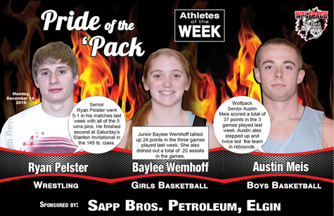 Ryan Pelster, Baylee Wemhoff and Austin Meis