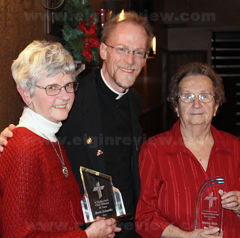 Now-retired St. Boniface Choir Director Rosie Schueths, Fr. Ross Burkhalter and now-retired organist Shirley Meis. Photo submitted