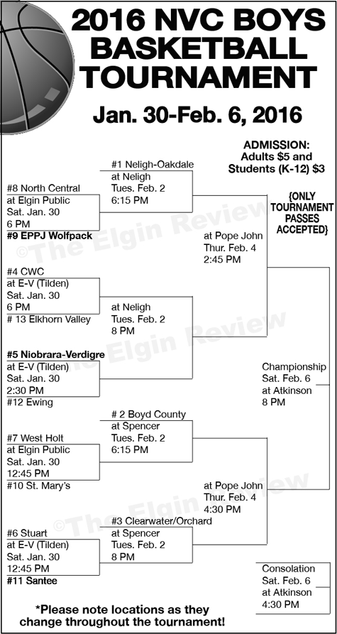 NVC Boys Basketball Tournament Brackets. The Elgin Review