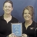 Coaches Stacy Shumake-Henn and Jessie Reestman with the 2nd Place plaque. Photo submitted