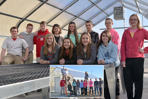 Some of the Elgin FFA Chapter members gathered inside and outside of the new greenhouse. Pictured are (inside photo, left to right): Miles Schrage, Cole Preister, Justin Funk, Heather Bauer, Advisor Mrs. Julia Schwartz, Lizzy Mlnarik, Grace Henn, Liz Selting, Hayes Miller, Eli Heilhecker, Geoffrey Carr and Taylor Sehi. E-R photo