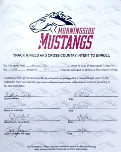 Polk signs with Morningside. The paper that proves it. Photo submitted