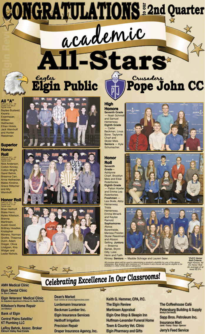 The Elgin Review Elgin, Nebraska Antelope County, Nebraska Elgin Public High School Pope John XXIII Central Catholic High School EPS PJCC ALL A HONOR ROLL Baylee Busteed, Keyera Eisenhauer, William Heilhecker, Ethan Hinkle, Jack Wemhoff and Hunter Reestman SUPERIOR HONOR ROLL Nick Anderson, Corbin Kinney, Colton Wright, Garet Behnk, Breanna Carr, Anna Heilhecker, Mateo Kirstine, Grace Rittscher and Ally Wemhoff HONOR ROLL Brian Heithoff, Blake Henn, Myles Kittelson, Brenna Martinsen, Austin Good, Brittney Headlee, Kristopher Moreno, Norman Grothe, Theanna Dunn, Adam Dreger, Olivia Lindgren, Kira Widger and Leslie Nichols Seventh Grade High Honors — Noah Schmidt, Samuel Hemenway Honor Roll — Ashlynne Charf, Brooklyn Meis and Elise Ruterbories Eighth Grade High Honors — Carter Beckman, Linus Borer, Taylynne Charf and Skyler Meis Honor Roll — Paiton Hoefer and Emma Lea Ruterbories Freshmen Honor Roll — Lexi Bode, Abby Hemenway, Trista Hemenway, Emma Mlnarik and Kaylee Ramold Sophomores Honor Roll — Alyssa Burenheide, Marissa Preister, Skylar Reestman and Allyson Selting Juniors Honor Roll — Breanna Bartak, Brynn Dilly, Luke Henn and Faith Kinney Seniors High Honors — Kyle Schumacher Honor Roll — Maddie Schrage and Lauren Seier