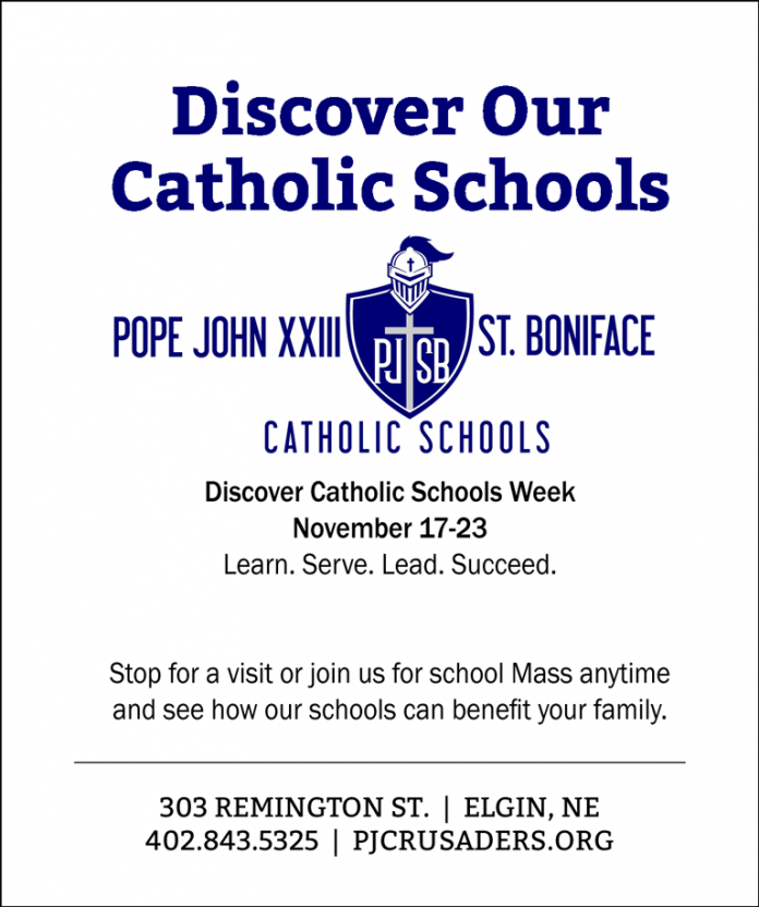 Elgin Nebraska Antelope County Nebraska CSW Catholic Schools Weeks PJCC St. Boniface Pope John XXIII Central Catholic High School St. Boniface Elementary catholic schools celebrating Elgin Review