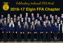 Members of the Elgin FFA gather for a group photo.